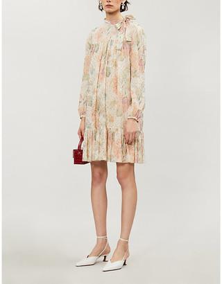 RED Valentino Floral metallic fil-coupe mini dress