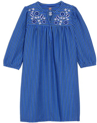 Tea Collection Embroidered Stripe Henley Dress