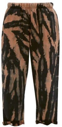 LES TIEN Snap-front Tie-dye Brushed-back Cotton Track Pants - Navy Multi