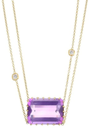 Renee Lewis 18K Yellow Gold, Diamond & Amethyst Two Tier Chain Necklace