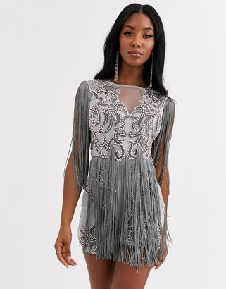 A Star Is Born fringe embellished playsuit-Blue