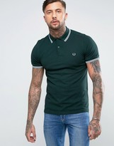 Fred Perry Slim Pique Polo Shirt Twin Tipped In Ivy Black Oxford
