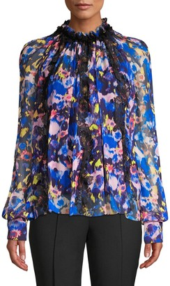 Jason Wu Collection Printed Chiffon Long Sleeve Top