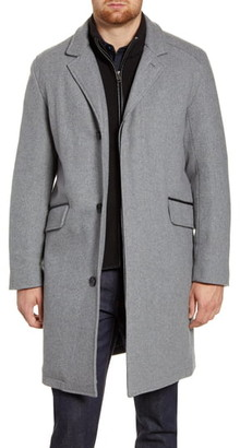 Cole Haan Wool Blend Topcoat with Interior Knit Bib