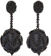 Oscar de la Renta Beaded Silk Clip Earrings - Black