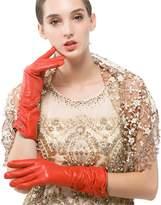 Nappaglo Women Winter Warm Italian Lambskin Leather Gloves / Long Fleece Lining