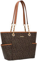 Calvin Klein H4GAJ1HU Monogram Tote in Brown/Khaki/Luggage