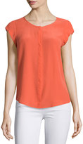 Joie Iva Cap-Sleeve Silk Blouse, Coral