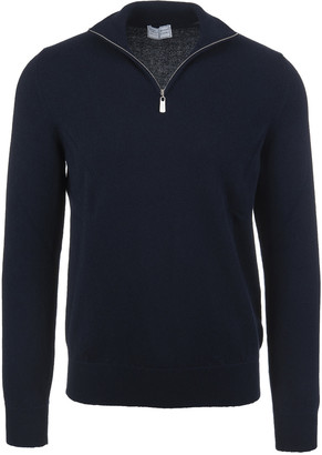 Fedeli Half Zip Favonio Pullover In Night Blue Cashmere