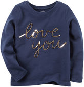 Carter's Girls Long Sleeve Navy Love You T-Shirt-Preschool