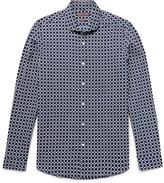 Michael Kors Slim-Fit Printed Linen and Cotton-Blend Shirt