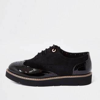 River Island Womens Black brogue lace up shoe