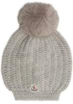 Moncler Fur-pompom wool beanie hat