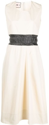 Plan C Flared Sleeveless Midi Dress