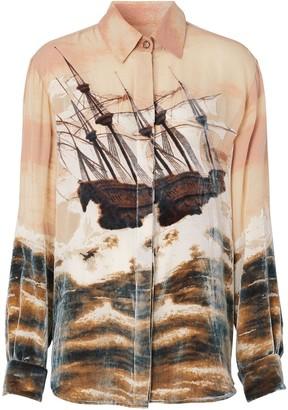 Burberry Ship Print Devore Silk Blend Oversized Shirt