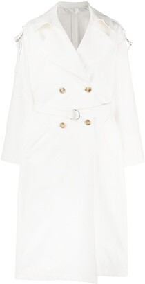 Yves Salomon Double-Breasted Belted Trench Coat