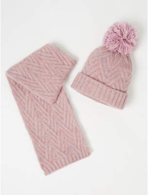 Bobble George Mauve Cable Knit Hat and Scarf Set