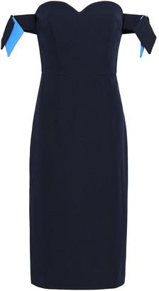 Milly Off-the-shoulder Bow-embellished Cady Dress