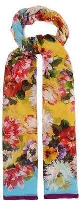 Dolce & Gabbana Floral-print Silk-crepon Scarf - Yellow Multi