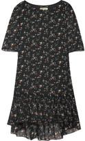 Saint Laurent Ruffled Floral-print Silk-chiffon Mini Dress - Black