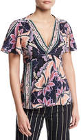 Nanette Lepore Venus Short-Sleeve Floral Silk Top, Black/Multicolor