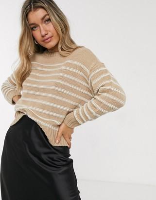 New Look striped jumper in brown pattern