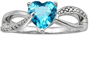 Sterling Silver Blue Topaz and Diamond Accent Heart Bypass Ring