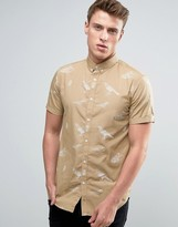 Jack and Jones Short Sleeved Shirt with All Over Illustrative Bird Print