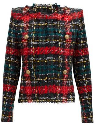 Balmain Tartan Tweed Jacket - Red Multi