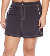 Free Country Drawstring Solid Swim Shorts Juniors Plus