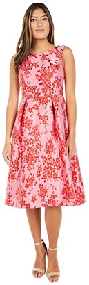 Adrianna Papell Cherry Blossom Jacquard Midi Dress (Fuchsia/Red) Women's Dress