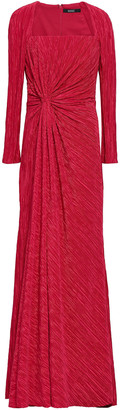 Badgley Mischka Knotted Plisse-satin Gown