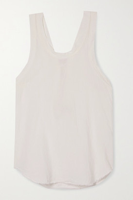 Bassike Organic Cotton-trimmed Frayed Linen-jersey Tank - White