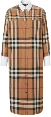 Burberry Contrast-Trim Check Shirt Dress