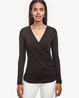 Ann Taylor Side Ruched Wrap Top