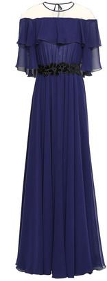 Talbot Runhof Noemie Cape-effect Chiffon Gown