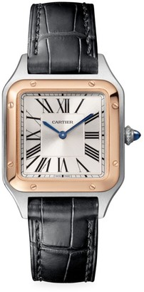 Cartier Santos Dumont de Small 18K Rose Gold, Stainless Steel & Black Alligator-Strap Watch