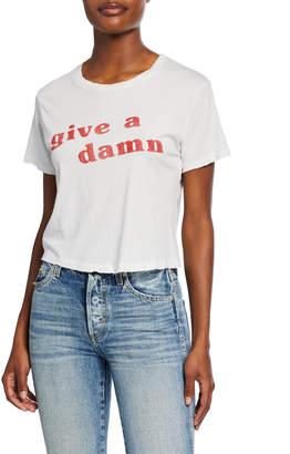 Amo Denim Give A Damn Babe Short-Sleeve Slogan Crop Tee