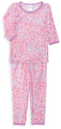Esme Little Girl's & Girl's Shimmer Cheetah 2-Piece Pajamas