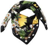 Dolce & Gabbana Sunflower & Polka Dot Printed Silk Scarf