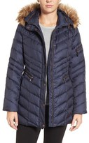 Andrew Marc Women's Quilted Down Jacket With Faux Fur Trim