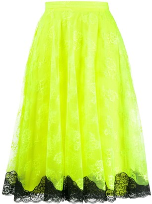 Christopher Kane Neon Lace Midi Skirt