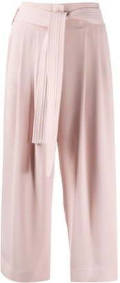 P.A.R.O.S.H. Tie Waist Cropped Culotte Trousers