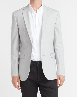 Express Extra Slim Gray Textured Cotton Blend Suit Jacket