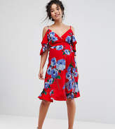 Queen Bee Wrap Front Cold Shoulder Tea Dress In Large Floral Print
