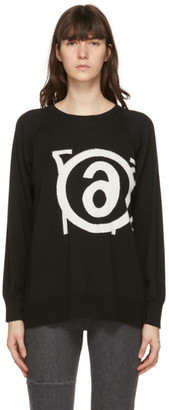 MM6 MAISON MARGIELA Reversible Black Wool Logo Sweater
