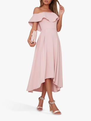 Chi Chi London Wanda Ruffle Dress, Mink