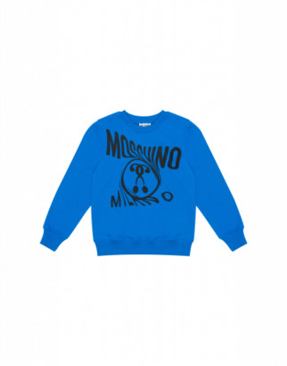 Moschino Distorted Double Question Mark Sweatshirt Unisex Blue Size 4a It - (4y Us)