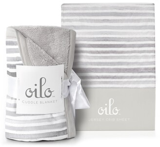 Oilo Ink Cuddle Blanket & Jersey Fitted Crib Sheet Set