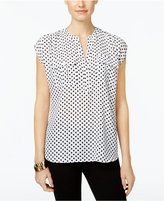 INC International Concepts Petite Dot-Print Utility Shirt, Only at Macy's